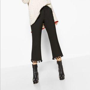 🌿Zara trousers with pompoms hem
